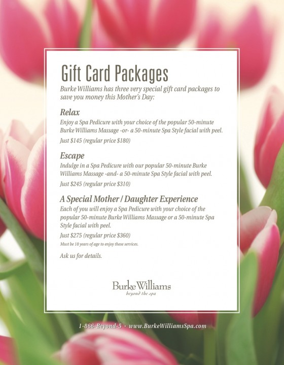 Burke williams mother 39 s day packages the ace agency for Mother daughter weekend spa getaways