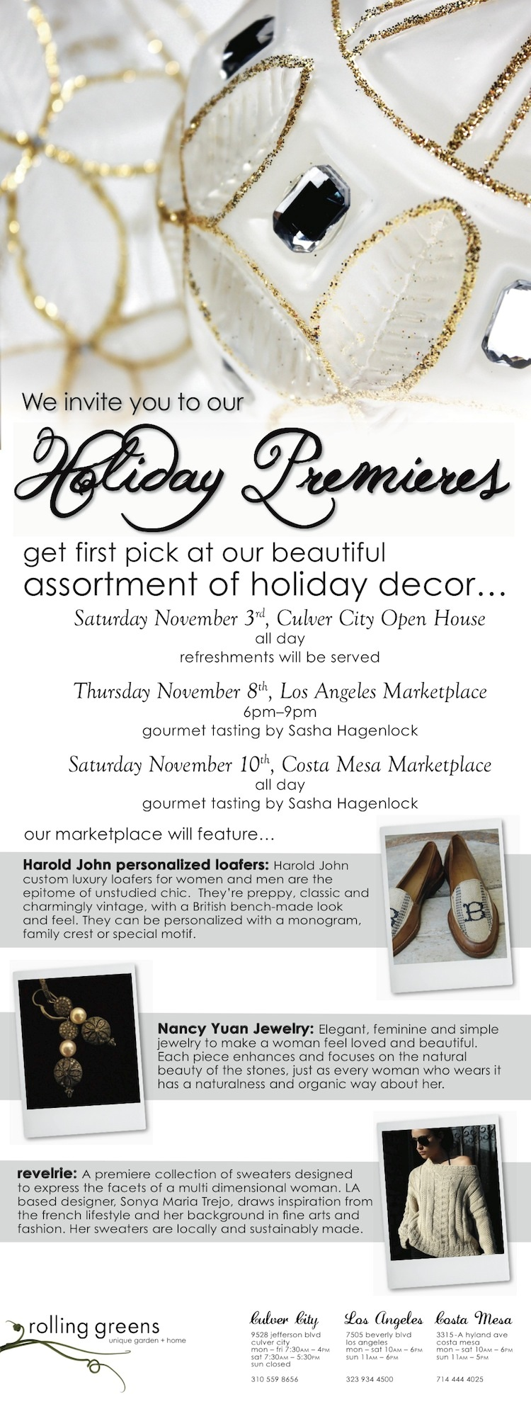 rolling greens invites you to the holiday collection premieres the ace agency. Black Bedroom Furniture Sets. Home Design Ideas